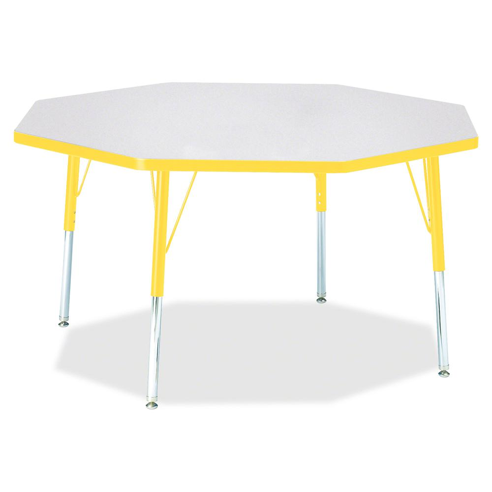 "Berries Elementary Height Color Edge Octagon Table - Laminated Octagonal, Yellow Top - Four Leg Base - 4 Legs - 1.13"" Table Top Thickness x 48"" Table Top Diameter - 24"" Height - Assembly Required - Po. Picture 3"