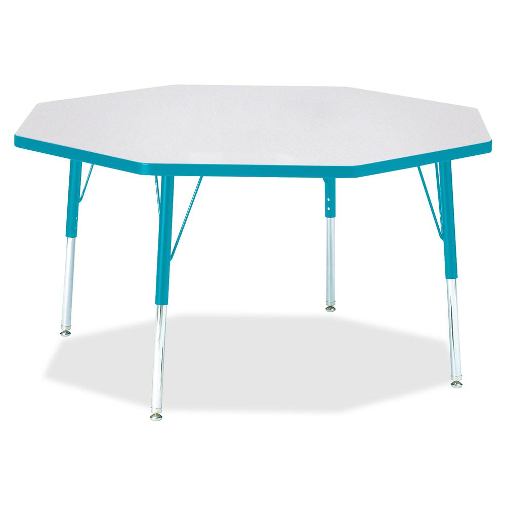 "Berries Elementary Height Color Edge Octagon Table - Laminated Octagonal, Teal Top - Four Leg Base - 4 Legs - 1.13"" Table Top Thickness x 48"" Table Top Diameter - 24"" Height - Assembly Required - Powd. Picture 2"