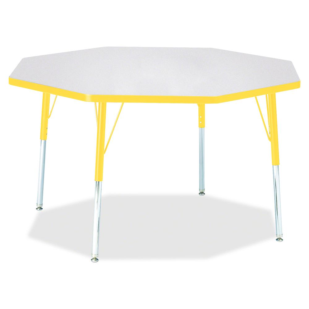 "Berries Adult Height Color Edge Octagon Table - Gray Octagonal, Laminated Top - Four Leg Base - 4 Legs - 1.13"" Table Top Thickness x 48"" Table Top Diameter - 31"" Height - Assembly Required - Powder Co. Picture 2"