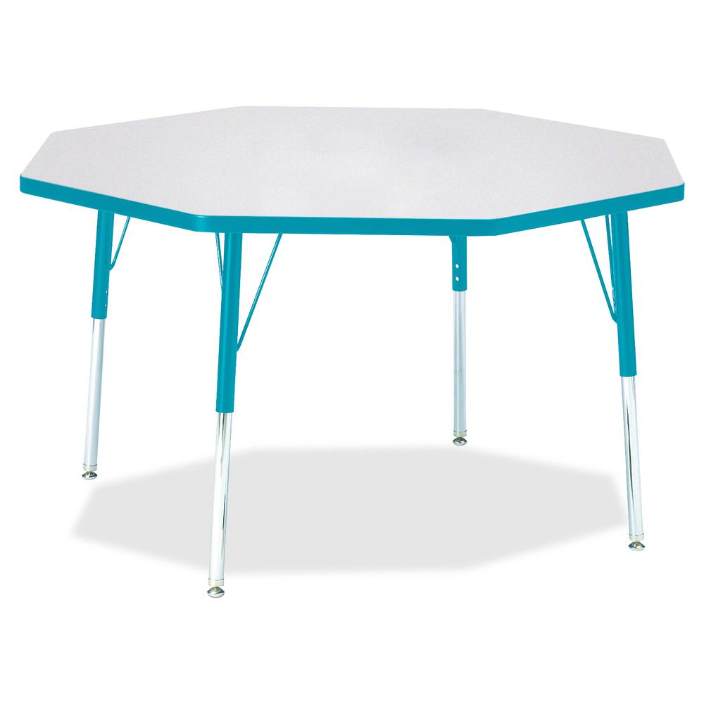 """Berries Adult Height Color Edge Octagon Table - Laminated Octagonal, Teal Top - Four Leg Base - 4 Legs - 1.13"""" Table Top Thickness x 48"""" Table Top Diameter - 31"""" Height - Assembly Required - Powder Co. Picture 2"""