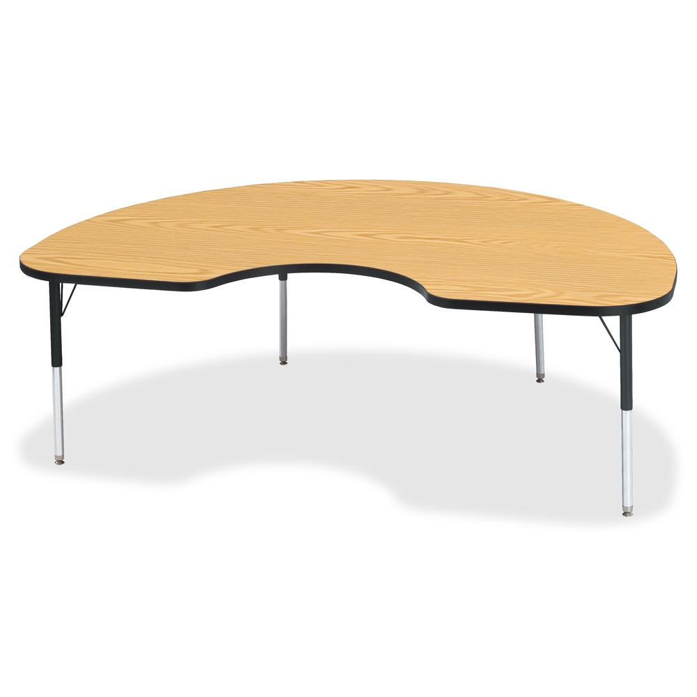 """Berries Elementary Height Color Top Kidney Table - Black Oak Kidney-shaped, Laminated Top - Four Leg Base - 4 Legs - 72"""" Table Top Length x 48"""" Table Top Width x 1.13"""" Table Top Thickness - 24"""" Height. Picture 2"""