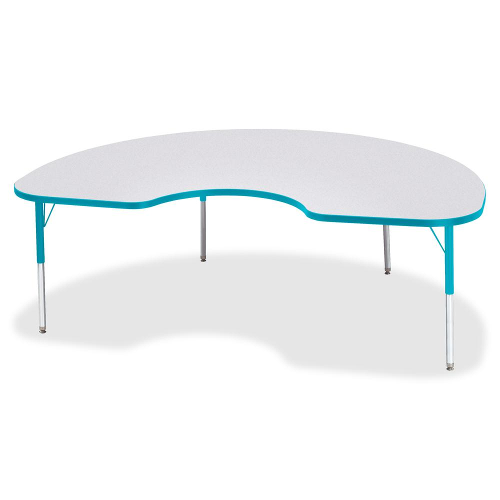 """Berries Elementary Height Color Edge Kidney Table - Laminated Kidney-shaped, Teal Top - Four Leg Base - 4 Legs - 72"""" Table Top Length x 48"""" Table Top Width x 1.13"""" Table Top Thickness - 24"""" Height - A. Picture 3"""