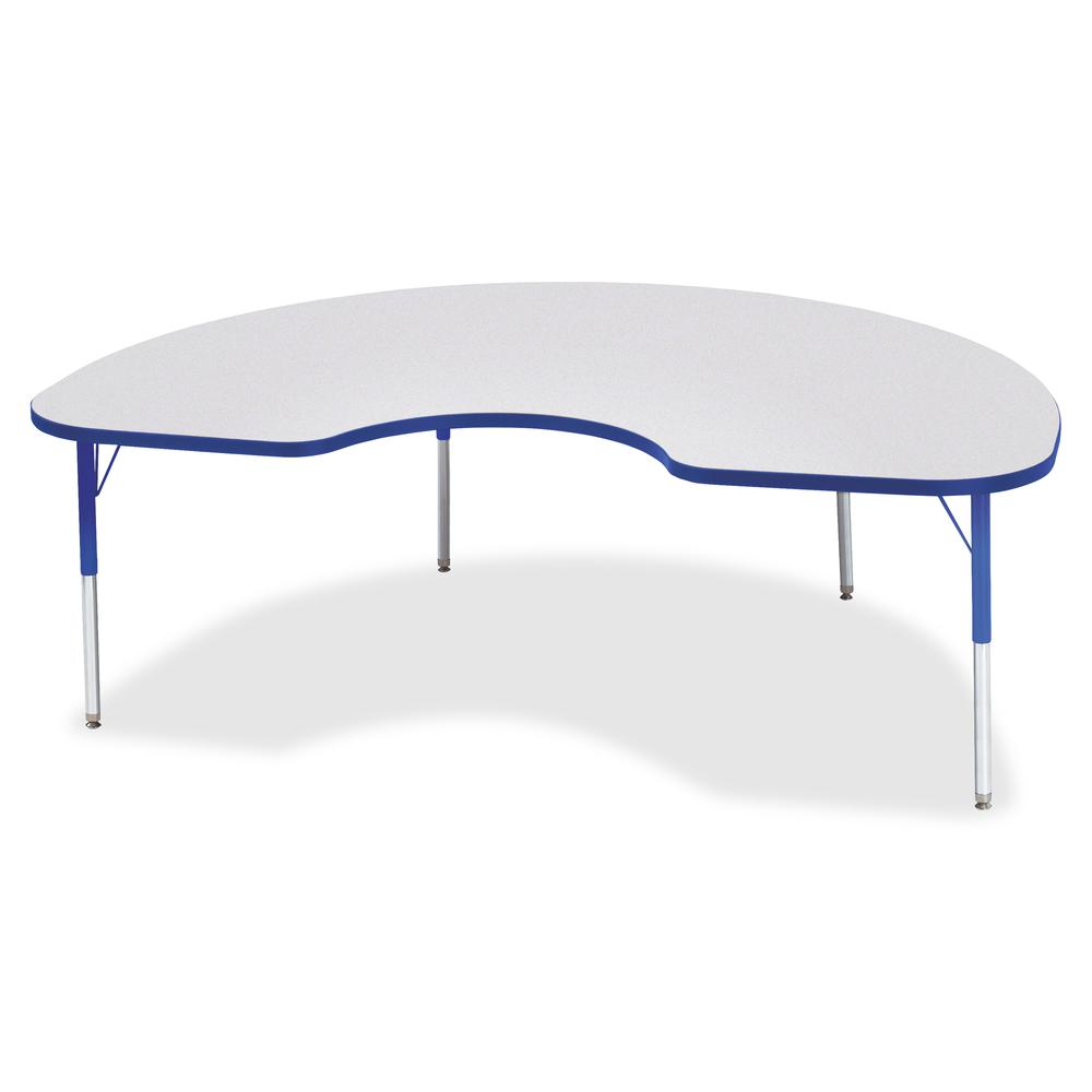 """Berries Elementary Height Color Edge Kidney Table - Gray Kidney-shaped, Laminated Top - Four Leg Base - 4 Legs - 72"""" Table Top Length x 48"""" Table Top Width x 1.13"""" Table Top Thickness - 24"""" Height - A. Picture 2"""