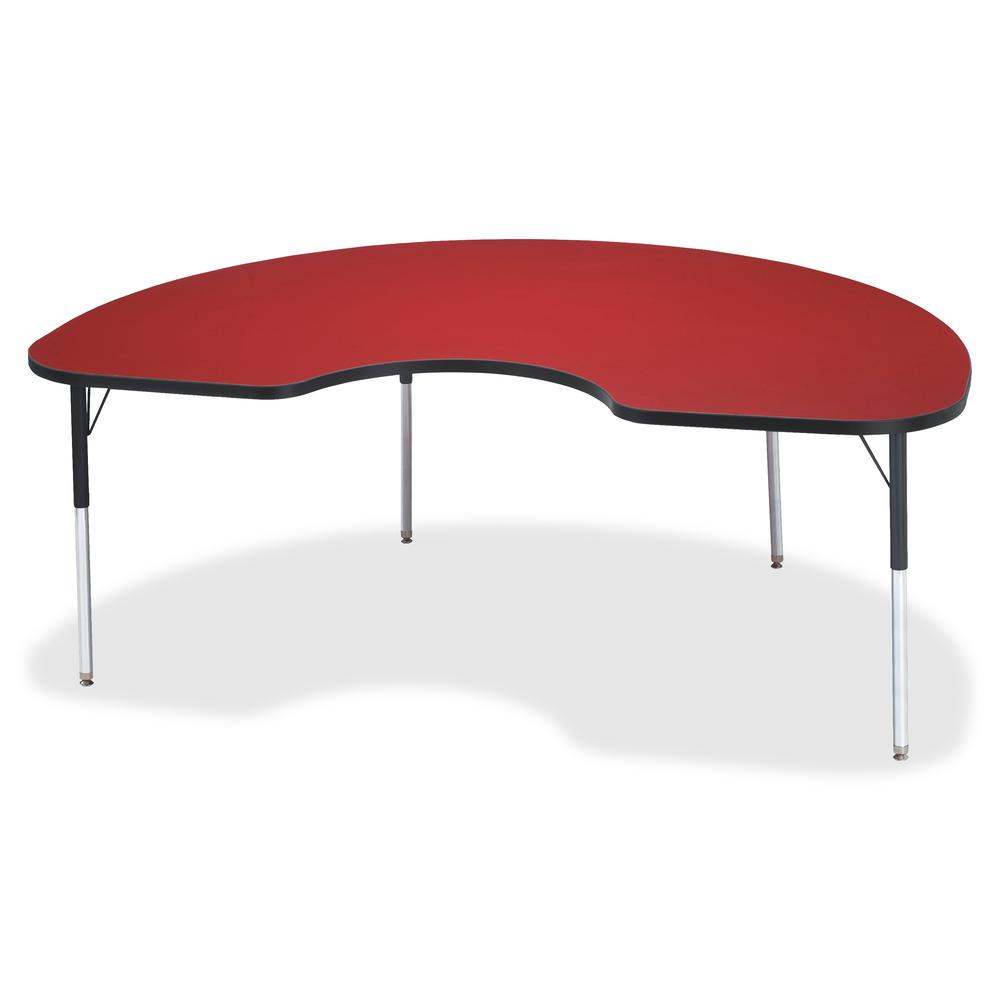 """Berries Adult Color Top Kidney Table - Laminated Kidney-shaped, Red Top - Four Leg Base - 4 Legs - 72"""" Table Top Length x 48"""" Table Top Width x 1.13"""" Table Top Thickness - 31"""" Height - Assembly Requir. Picture 2"""