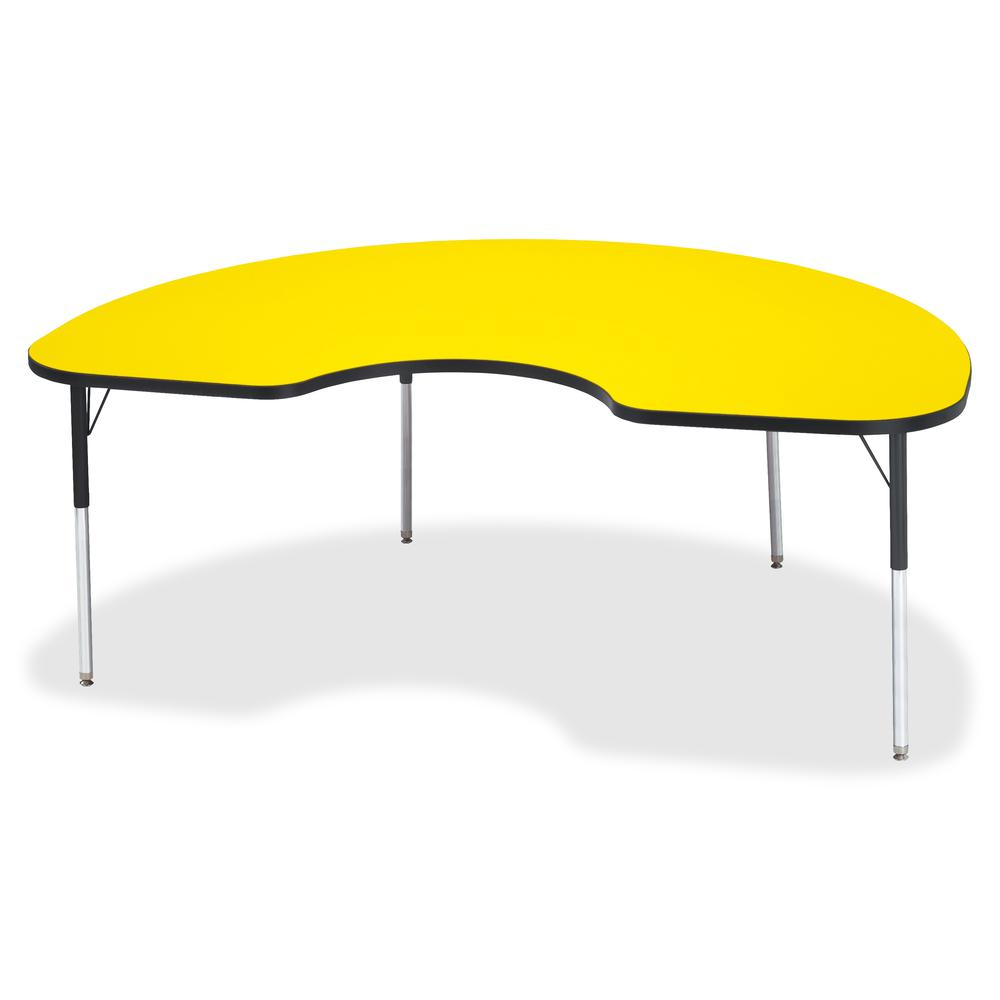 """Jonti-Craft Berries Adult Color Top Kidney Table - Laminated Kidney-shaped, Yellow Top - Four Leg Base - 4 Legs - 72"""" Table Top Length x 48"""" Table Top Width x 1.13"""" Table Top Thickness - 31"""" Height - . Picture 2"""