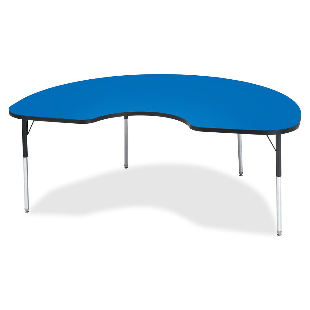 """Berries Adult Height Prism Color Edge Kidney Table - Blue Kidney-shaped, Laminated Top - Four Leg Base - 4 Legs - 72"""" Table Top Length x 48"""" Table Top Width x 1.13"""" Table Top Thickness - 31"""" Height - . Picture 2"""