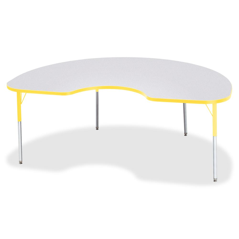 """Berries Adult Height Prism Color Edge Kidney Table - Laminated Kidney-shaped, Yellow Top - Four Leg Base - 4 Legs - 72"""" Table Top Length x 48"""" Table Top Width x 1.13"""" Table Top Thickness - 31"""" Height . Picture 2"""