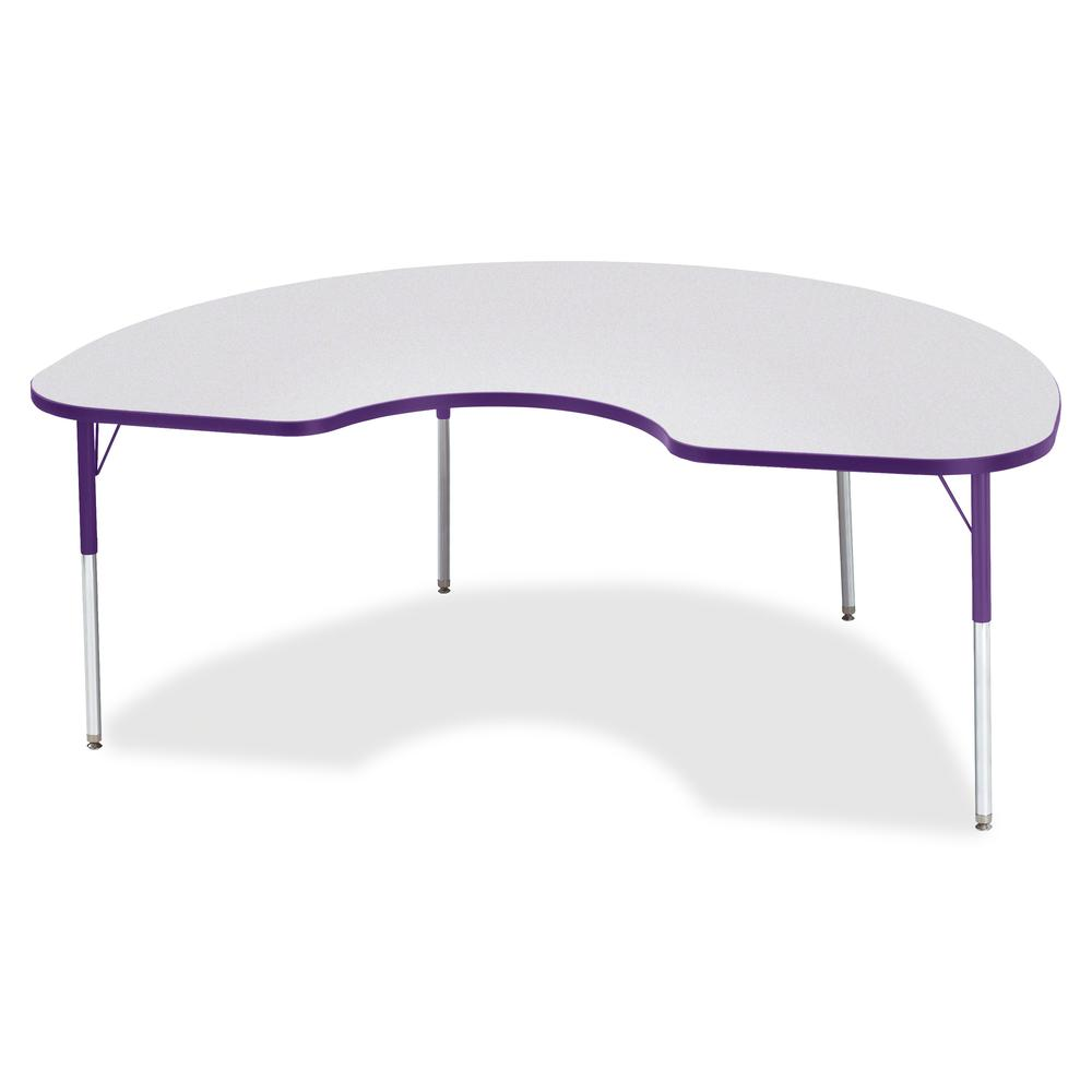 """Berries Adult Height Prism Color Edge Kidney Table - Gray Kidney-shaped, Laminated Top - Four Leg Base - 4 Legs - 72"""" Table Top Length x 48"""" Table Top Width x 1.13"""" Table Top Thickness - 31"""" Height - . Picture 3"""