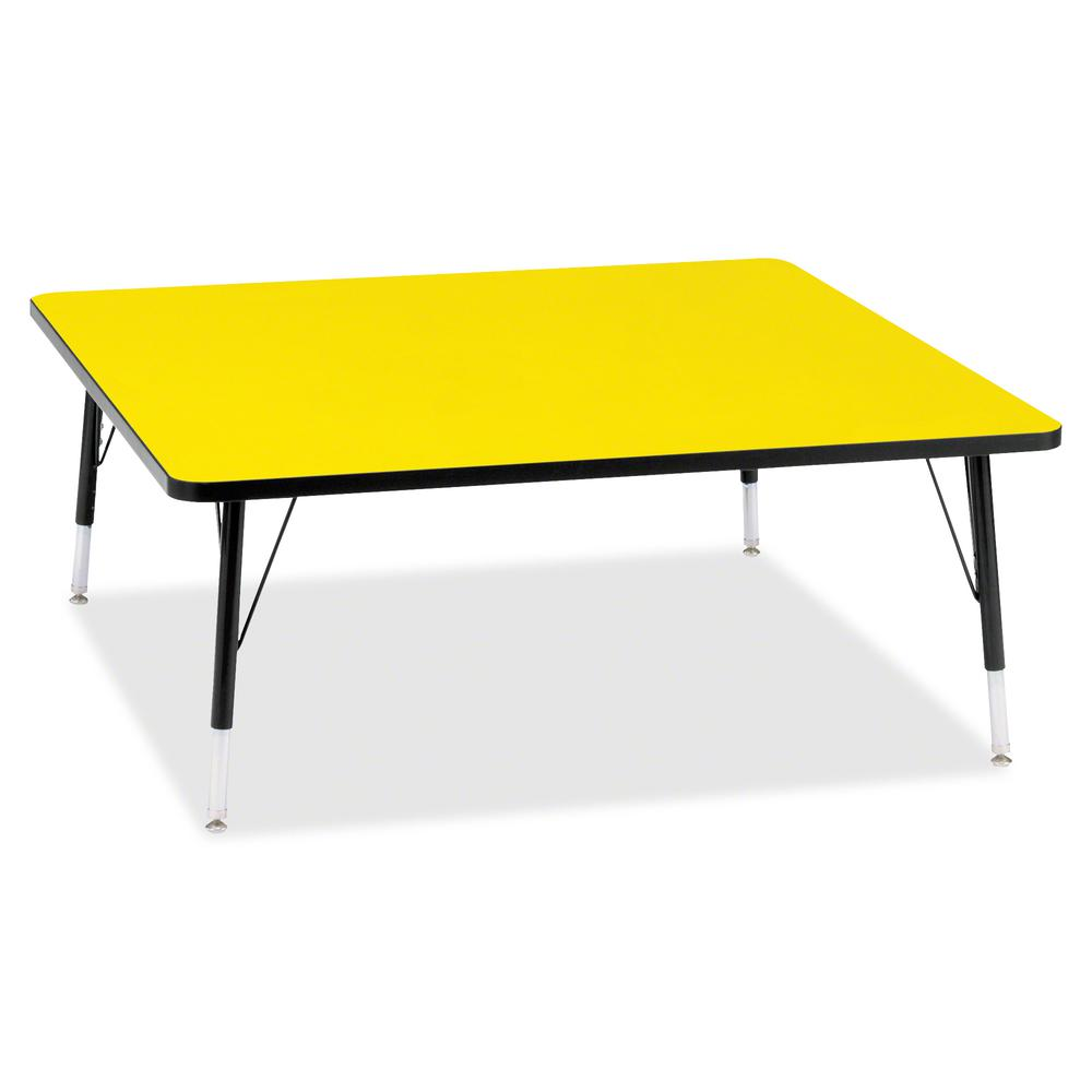 """Berries Toddler Height Color Top Square Table - Laminated Square, Yellow Top - Four Leg Base - 4 Legs - 48"""" Table Top Length x 48"""" Table Top Width x 1.13"""" Table Top Thickness - 15"""" Height - Assembly R. Picture 2"""