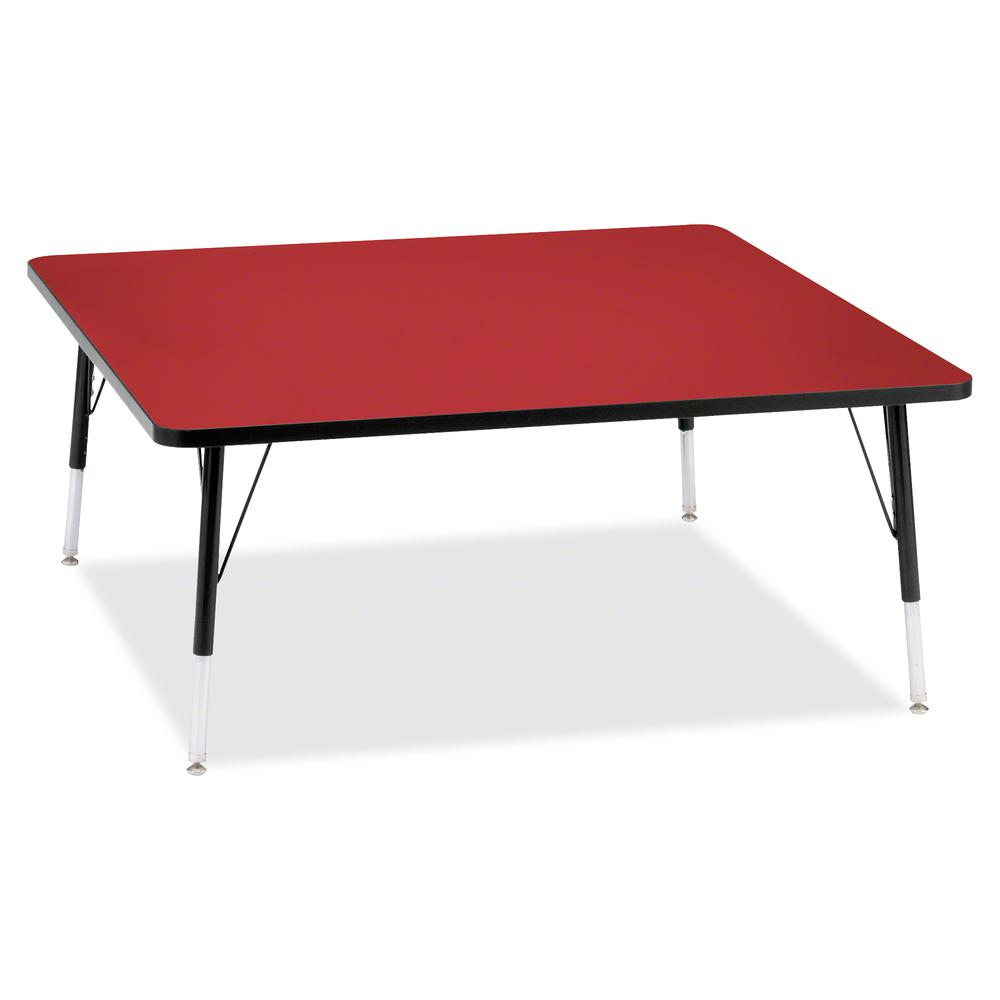 """Berries Elementary Height Color Top Square Table - Laminated Square, Red Top - Four Leg Base - 4 Legs - 48"""" Table Top Length x 48"""" Table Top Width x 1.13"""" Table Top Thickness - 24"""" Height - Assembly R. Picture 2"""