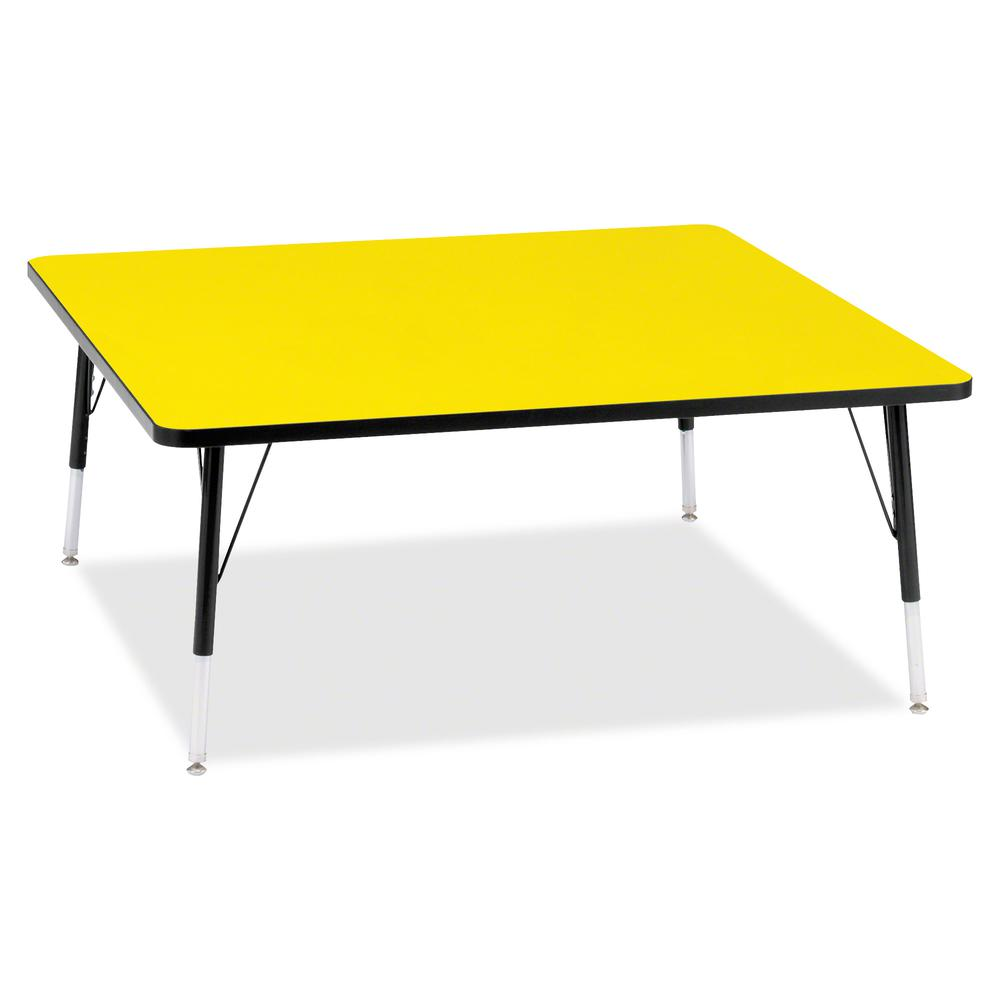 """Berries Elementary Height Color Top Square Table - Laminated Square, Yellow Top - Four Leg Base - 4 Legs - 48"""" Table Top Length x 48"""" Table Top Width x 1.13"""" Table Top Thickness - 24"""" Height - Assembl. Picture 2"""
