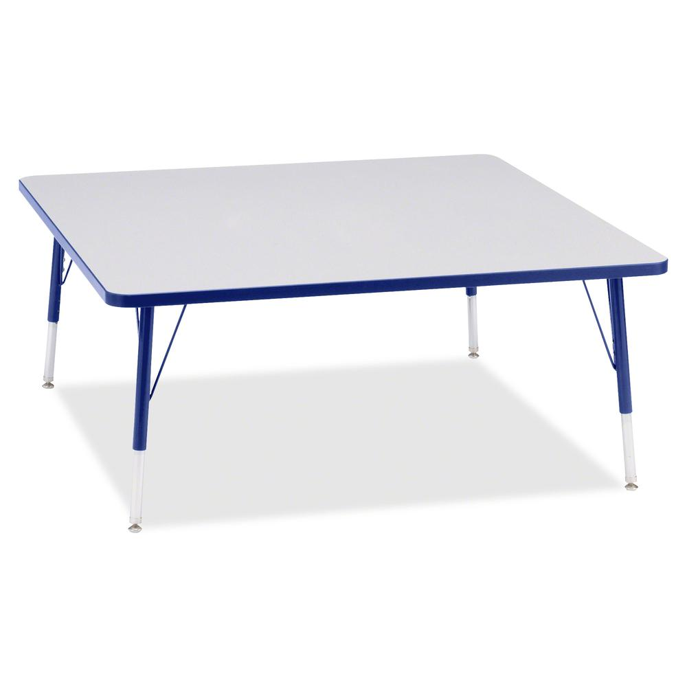 """Berries Elementary Height Color Edge Square Table - Gray Square, Laminated Top - Four Leg Base - 4 Legs - 48"""" Table Top Length x 48"""" Table Top Width x 1.13"""" Table Top Thickness - 24"""" Height - Assembly. Picture 3"""