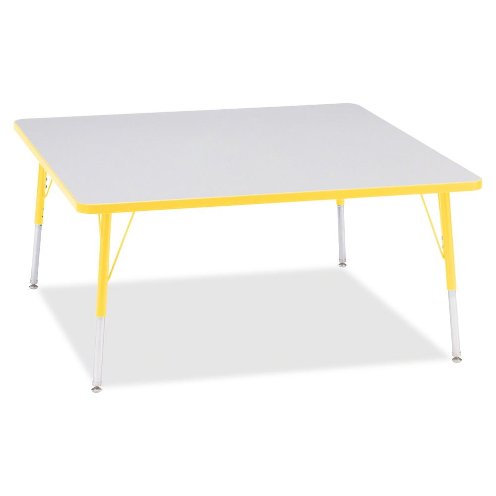 """Berries Adult Height Prism Color Edge Square Table - Laminated Square, Yellow Top - Four Leg Base - 4 Legs - 48"""" Table Top Length x 48"""" Table Top Width x 1.13"""" Table Top Thickness - 31"""" Height - Assem. Picture 2"""
