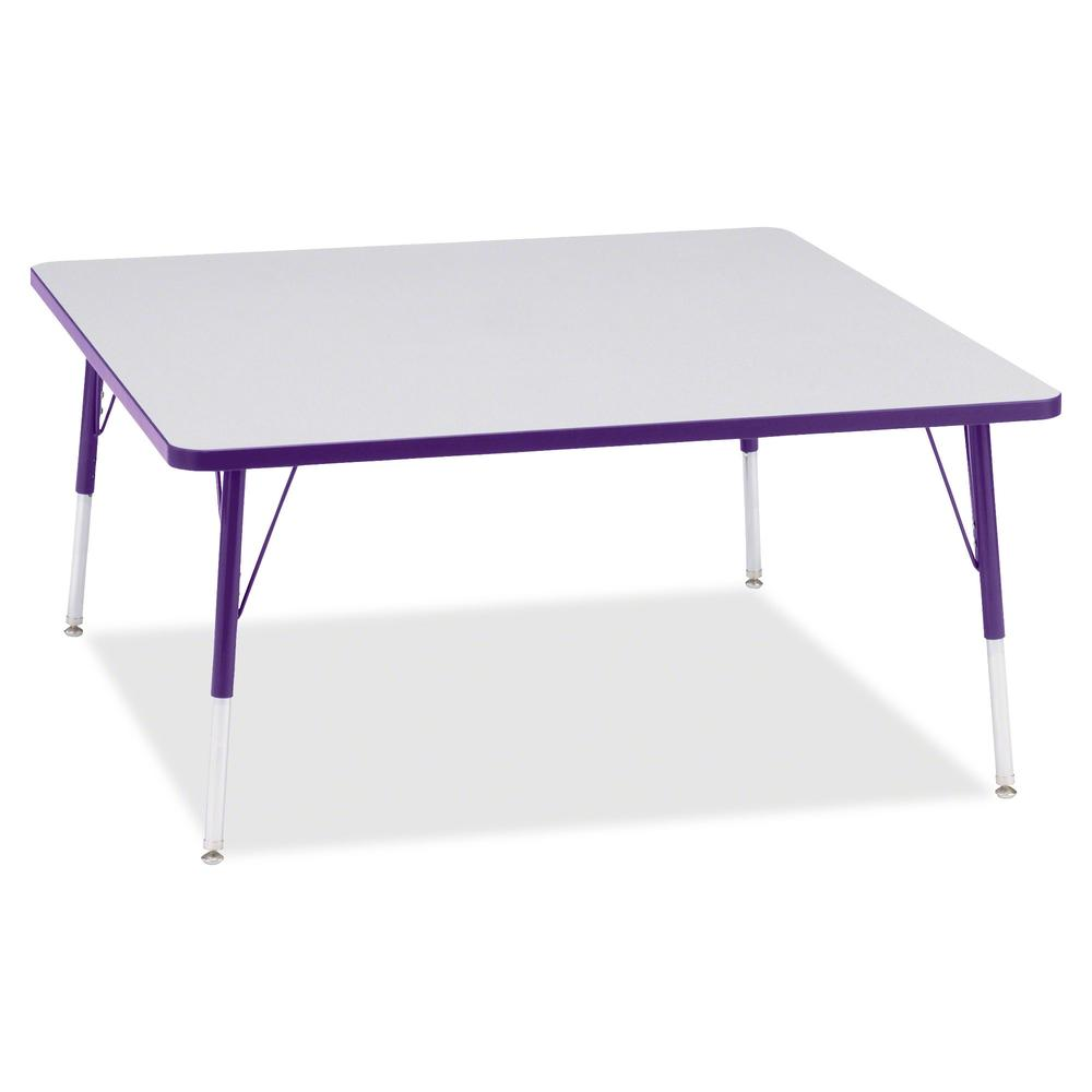 "Berries Adult Height Prism Color Edge Square Table - Gray Square, Laminated Top - Four Leg Base - 4 Legs - 48"" Table Top Length x 48"" Table Top Width x 1.13"" Table Top Thickness - 31"" Height - Assembl. Picture 2"