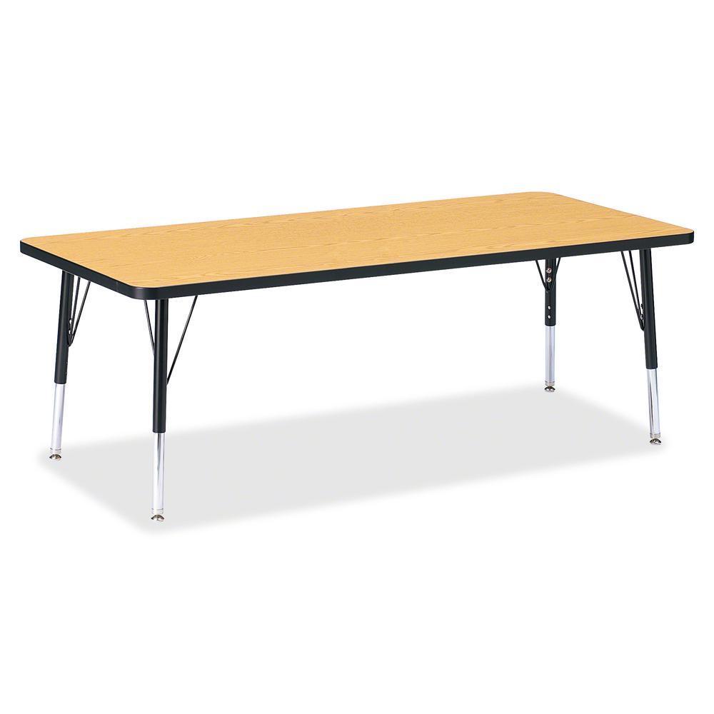 """Berries Toddler Height Color Top Rectangle Table - Black Oak Rectangle, Laminated Top - Four Leg Base - 4 Legs - 72"""" Table Top Length x 30"""" Table Top Width x 1.13"""" Table Top Thickness - 15"""" Height - A. Picture 2"""