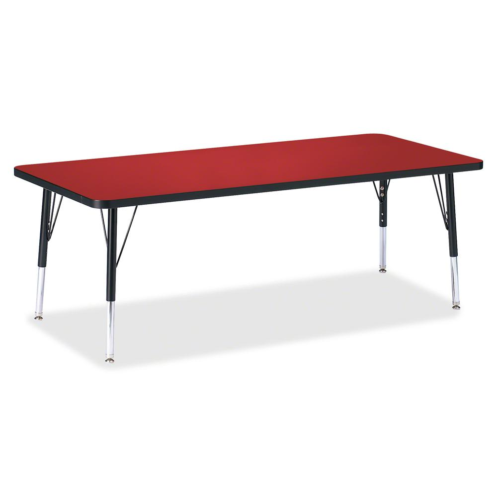 "Berries Toddler Height Color Top Rectangle Table - Laminated Rectangle, Red Top - Four Leg Base - 4 Legs - 72"" Table Top Length x 30"" Table Top Width x 1.13"" Table Top Thickness - 15"" Height - Assembl. Picture 2"