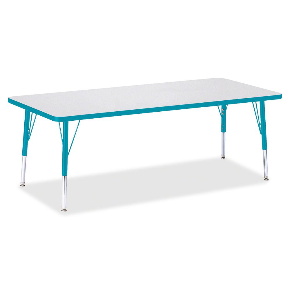 "Berries Toddler Height Prism Edge Rectangle Table - Laminated Rectangle, Teal Top - Four Leg Base - 4 Legs - 72"" Table Top Length x 30"" Table Top Width x 1.13"" Table Top Thickness - 15"" Height - Assem. Picture 3"