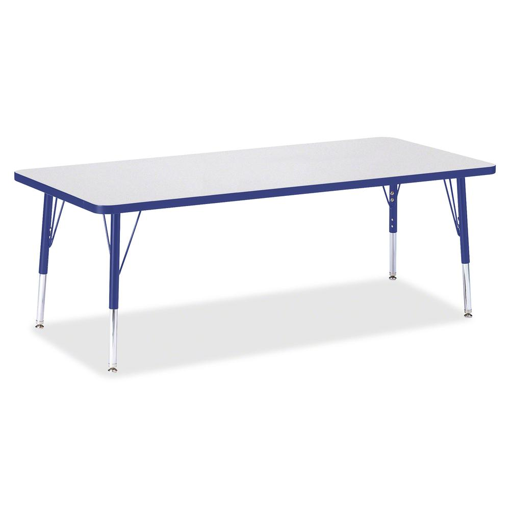 "Berries Toddler Height Prism Edge Rectangle Table - Blue Rectangle, Laminated Top - Four Leg Base - 4 Legs - 72"" Table Top Length x 30"" Table Top Width x 1.13"" Table Top Thickness - 15"" Height - Assem. Picture 2"