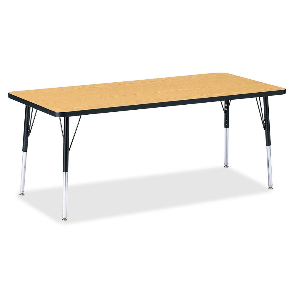 "Berries Elementary Height Color Top Rectangle Table - Black Oak Rectangle, Laminated Top - Four Leg Base - 4 Legs - 72"" Table Top Length x 30"" Table Top Width x 1.13"" Table Top Thickness - Assembly Re. Picture 2"