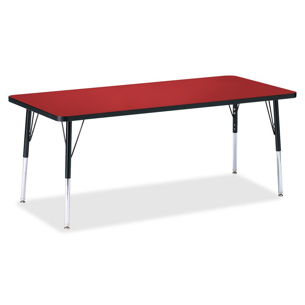 """Berries Elementary Height Color Top Rectangle Table - Laminated Rectangle, Red Top - Four Leg Base - 4 Legs - 72"""" Table Top Length x 30"""" Table Top Width x 1.13"""" Table Top Thickness - Assembly Required. Picture 2"""