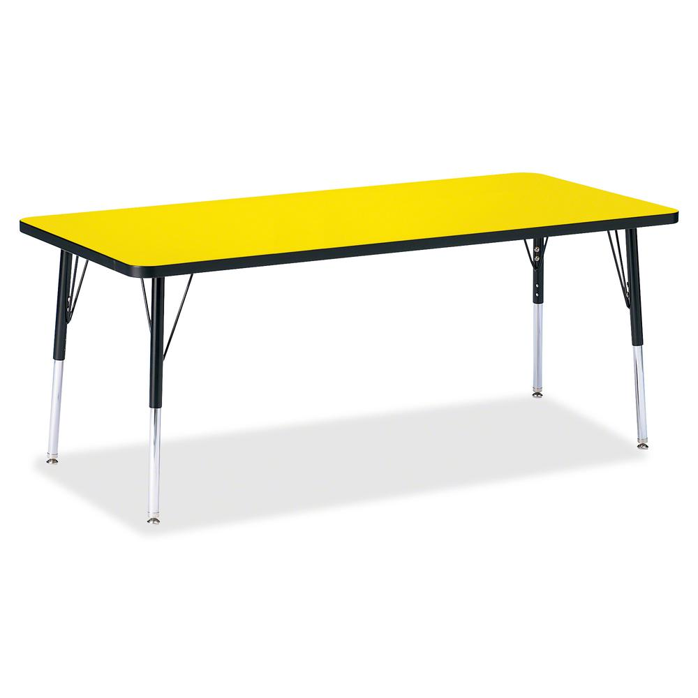 "Berries Elementary Height Color Top Rectangle Table - Laminated Rectangle, Yellow Top - Four Leg Base - 4 Legs - 72"" Table Top Length x 30"" Table Top Width x 1.13"" Table Top Thickness - Assembly Requi. Picture 2"