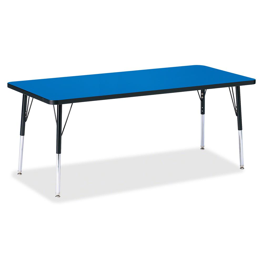 """Berries Elementary Height Color Top Rectangle Table - Blue Rectangle, Laminated Top - Four Leg Base - 4 Legs - 72"""" Table Top Length x 30"""" Table Top Width x 1.13"""" Table Top Thickness - Assembly Require. Picture 2"""