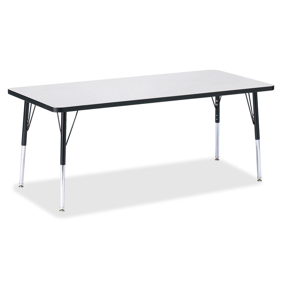 """Berries Elementary Height Color Edge Rectangle Table - Black Rectangle, Laminated Top - Four Leg Base - 4 Legs - 72"""" Table Top Length x 30"""" Table Top Width x 1.13"""" Table Top Thickness - 24"""" Height - A. Picture 3"""