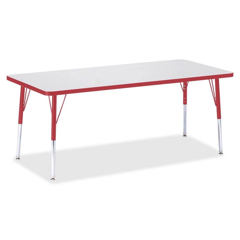 "Berries Elementary Height Color Edge Rectangle Table - Gray Rectangle, Laminated Top - Four Leg Base - 4 Legs - 72"" Table Top Length x 30"" Table Top Width x 1.13"" Table Top Thickness - 24"" Height - As. Picture 3"
