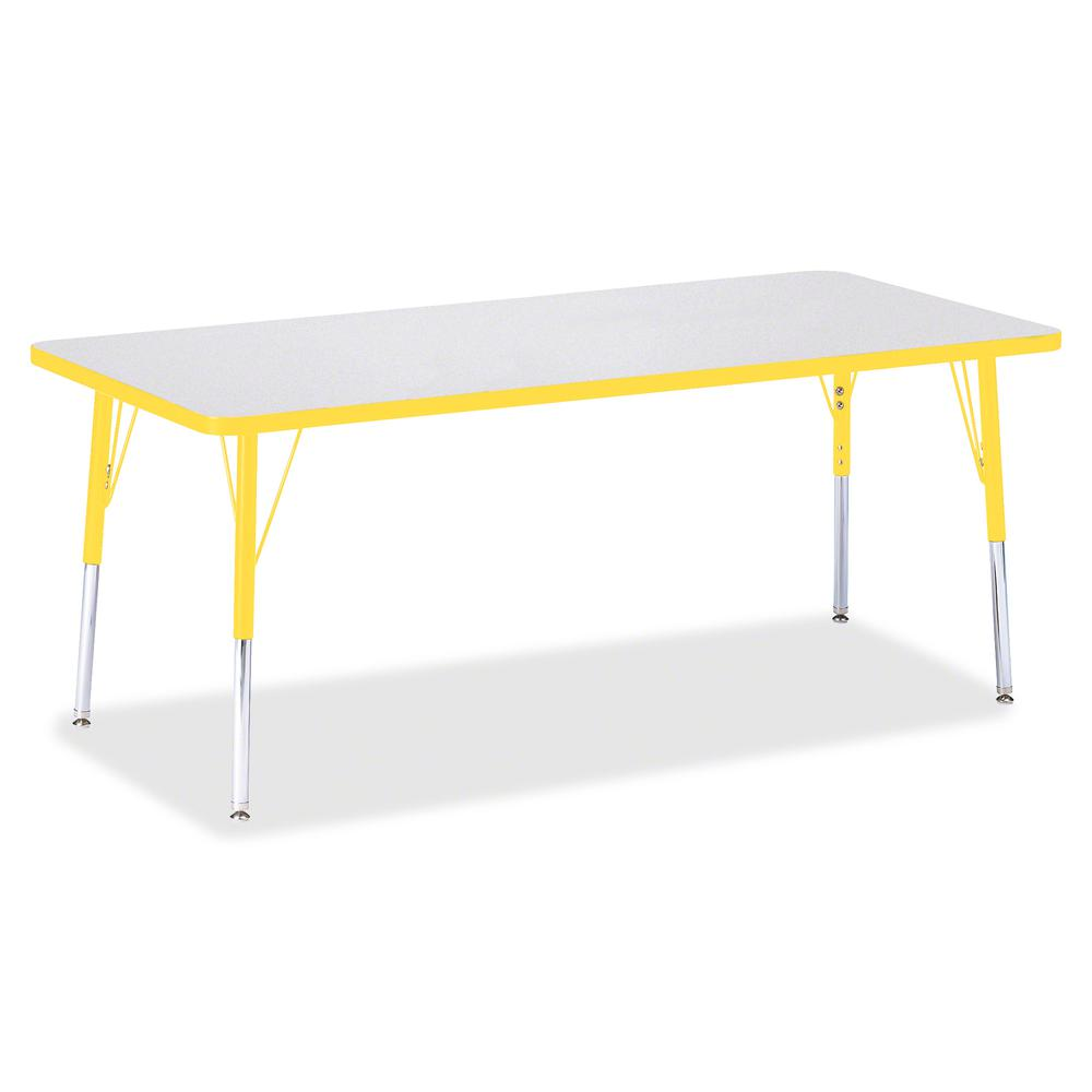 "Berries Elementary Height Color Edge Rectangle Table - Gray Rectangle Top - Four Leg Base - 4 Legs - 72"" Table Top Length x 30"" Table Top Width x 1.13"" Table Top Thickness - 24"" Height - Assembly Requ. Picture 3"