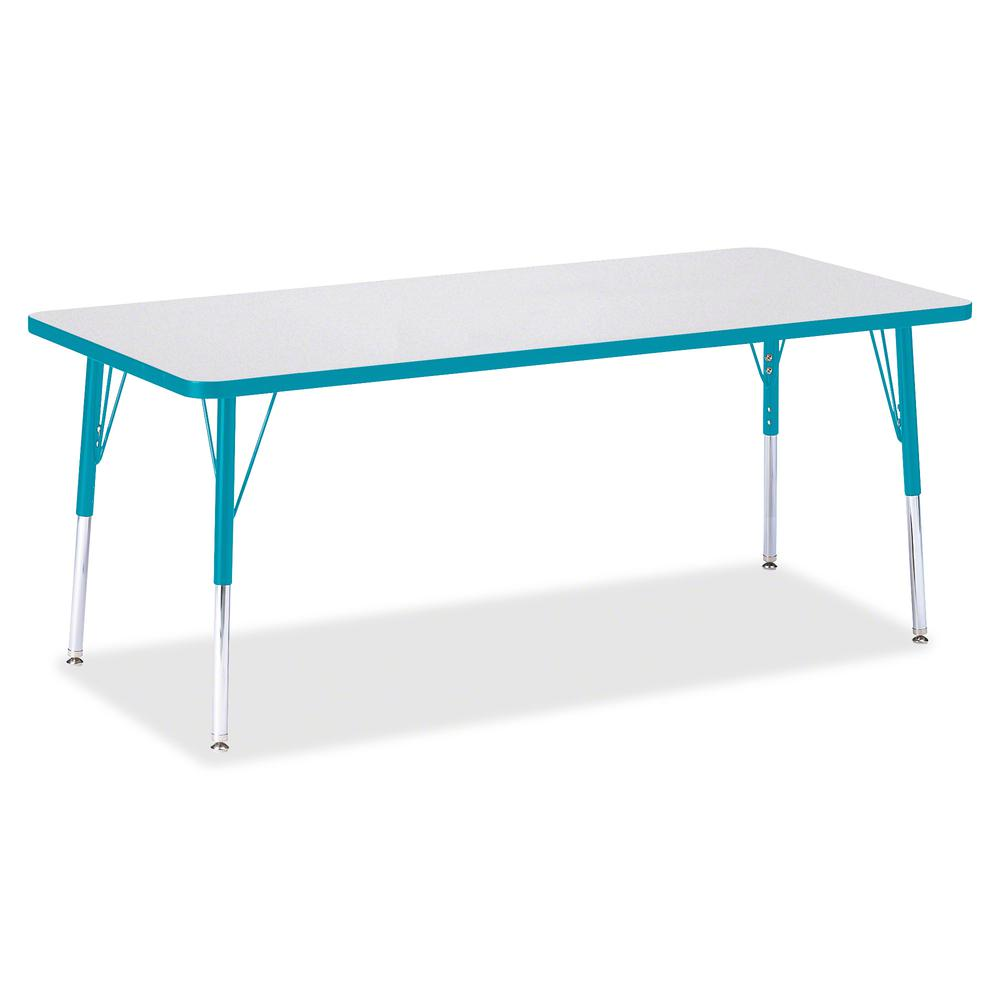 """Berries Elementary Height Color Edge Rectangle Table - Gray Rectangle Top - Four Leg Base - 4 Legs - 72"""" Table Top Length x 30"""" Table Top Width x 1.13"""" Table Top Thickness - 24"""" Height - Assembly Requ. Picture 3"""