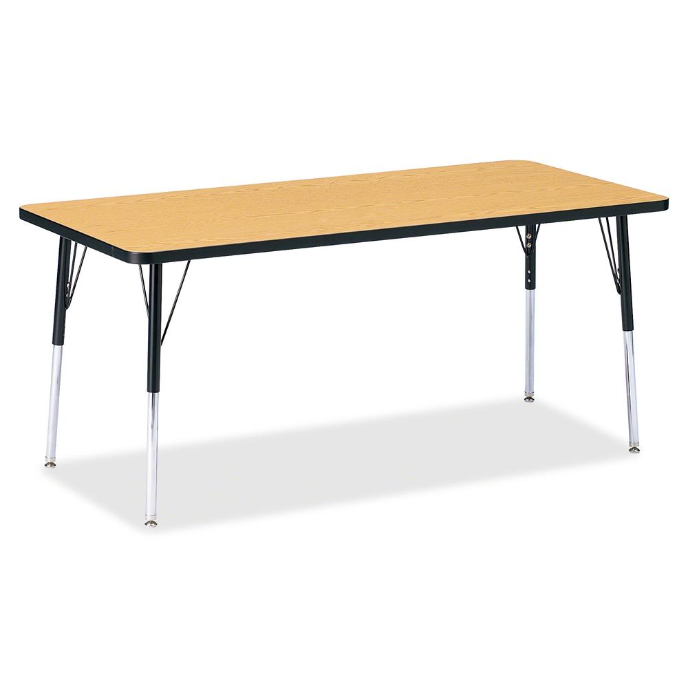 """Berries Adult Height Color Top Rectangle Table - Black Oak Rectangle, Laminated Top - Four Leg Base - 4 Legs - 72"""" Table Top Length x 30"""" Table Top Width x 1.13"""" Table Top Thickness - 31"""" Height - Ass. Picture 2"""