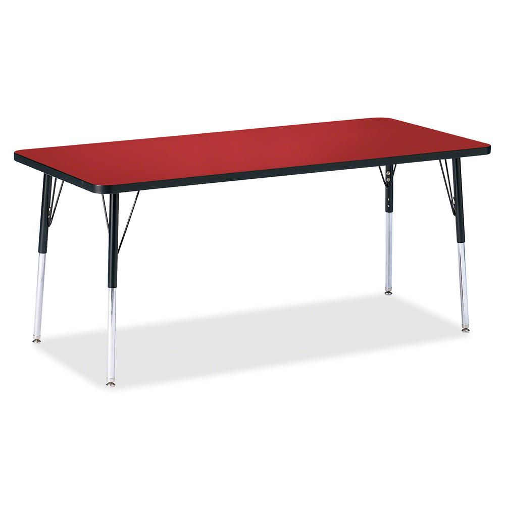"Berries Adult Height Color Top Rectangle Table - Laminated Rectangle, Red Top - Four Leg Base - 4 Legs - 72"" Table Top Length x 30"" Table Top Width x 1.13"" Table Top Thickness - 31"" Height - Assembly . Picture 2"