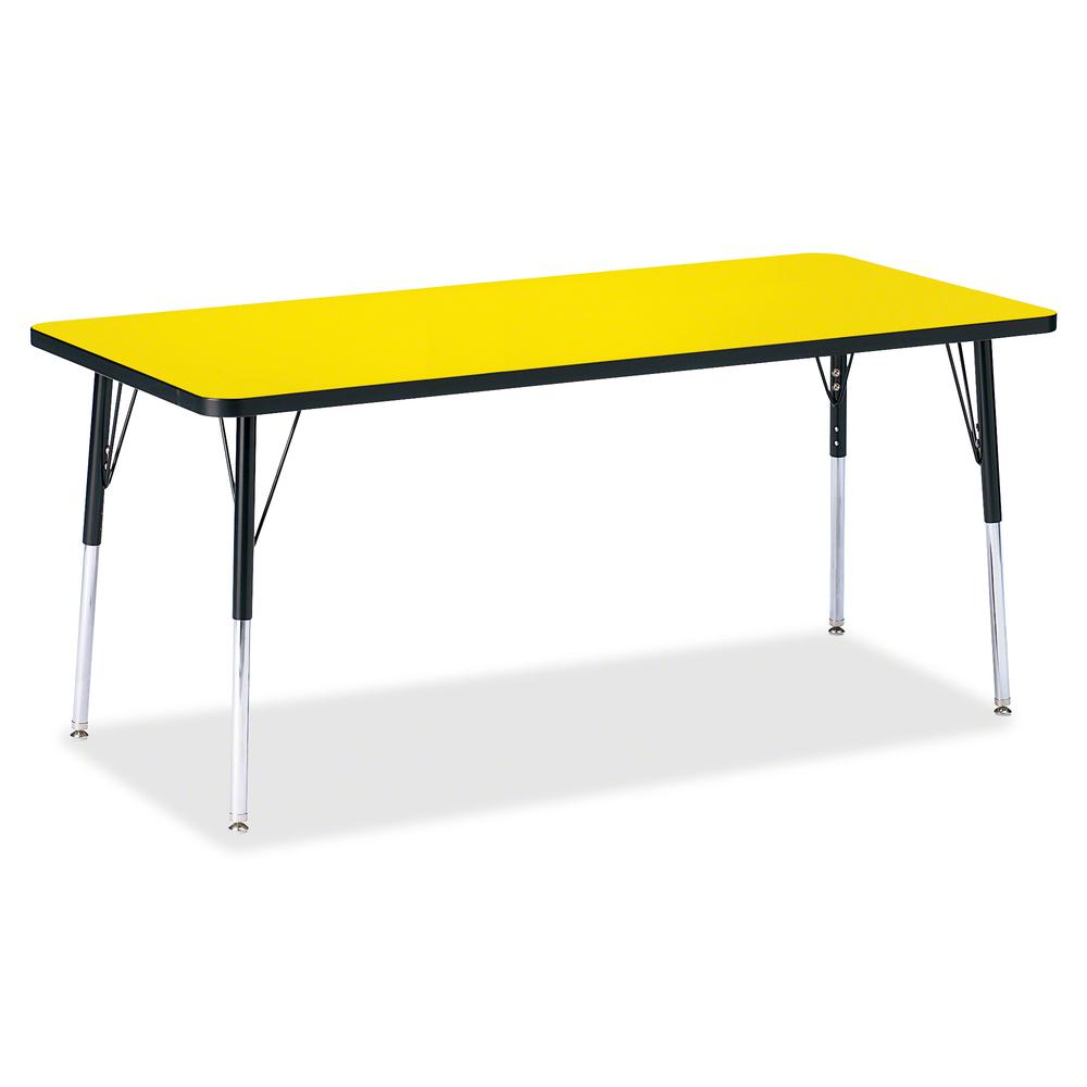 """Berries Adult Height Color Top Rectangle Table - Laminated Rectangle, Yellow Top - Four Leg Base - 4 Legs - 72"""" Table Top Length x 30"""" Table Top Width x 1.13"""" Table Top Thickness - 31"""" Height - Assemb. Picture 3"""