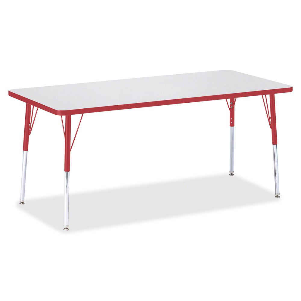 "Jonti-Craft Berries Adult Height Color Edge Rectangle Table - Laminated Rectangle, Red Top - Four Leg Base - 4 Legs - 72"" Table Top Length x 30"" Table Top Width x 1.13"" Table Top Thickness - 31"" Heigh. Picture 2"