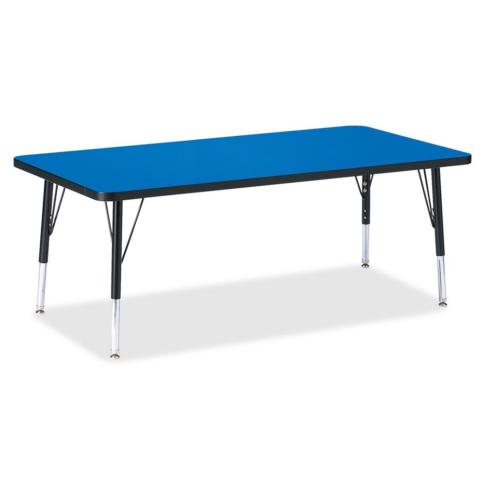 "Berries Toddler Height Color Top Rectangle Table - Blue Rectangle, Laminated Top - Four Leg Base - 4 Legs - 60"" Table Top Length x 30"" Table Top Width x 1.13"" Table Top Thickness - 15"" Height - Assemb. Picture 2"