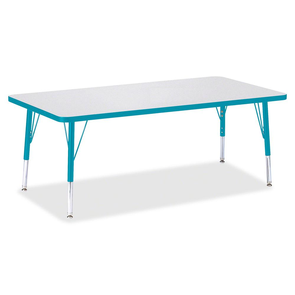 "Berries Toddler Height Prism Edge Rectangle Table - Laminated Rectangle, Teal Top - Four Leg Base - 4 Legs - 60"" Table Top Length x 30"" Table Top Width x 1.13"" Table Top Thickness - 15"" Height - Assem. Picture 3"