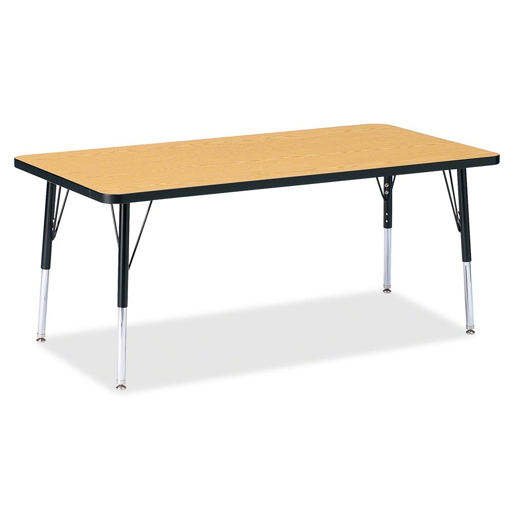 """Berries Elementary Height Color Top Rectangle Table - Black Oak Rectangle, Laminated Top - Four Leg Base - 4 Legs - 60"""" Table Top Length x 30"""" Table Top Width x 1.13"""" Table Top Thickness - 24"""" Height . Picture 2"""