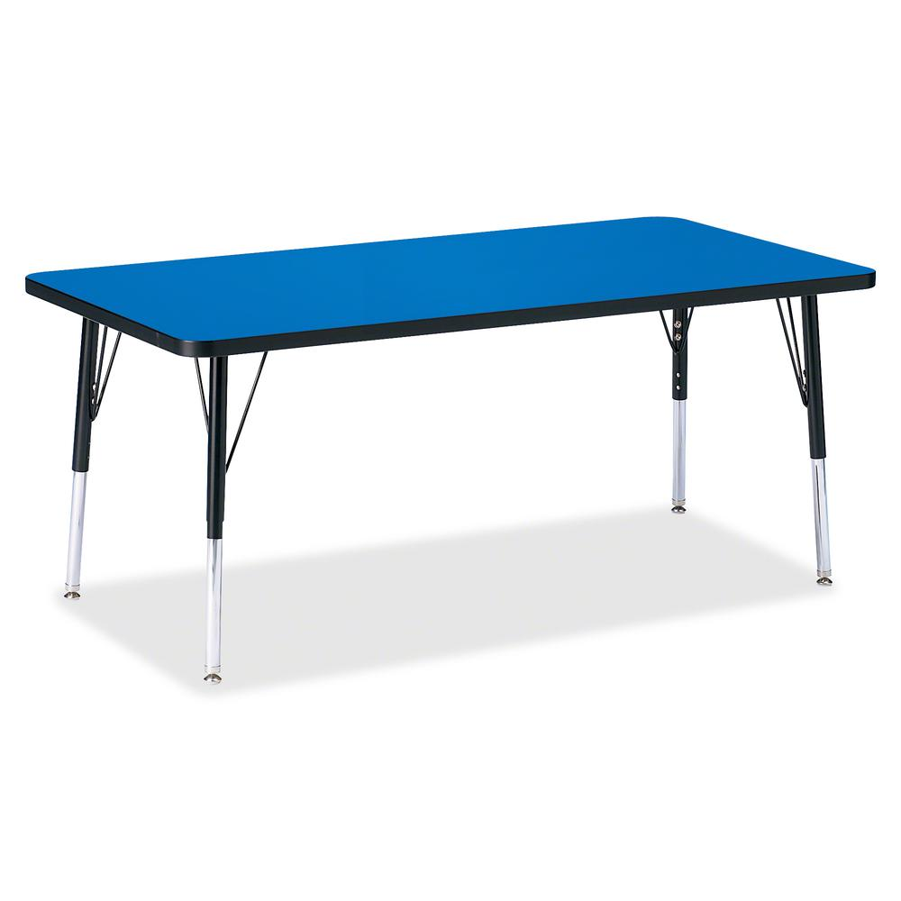 """Jonti-Craft Berries Elementary Height Color Top Rectangle Table - Blue Rectangle, Laminated Top - Four Leg Base - 4 Legs - 60"""" Table Top Length x 30"""" Table Top Width x 1.13"""" Table Top Thickness - Asse. Picture 2"""