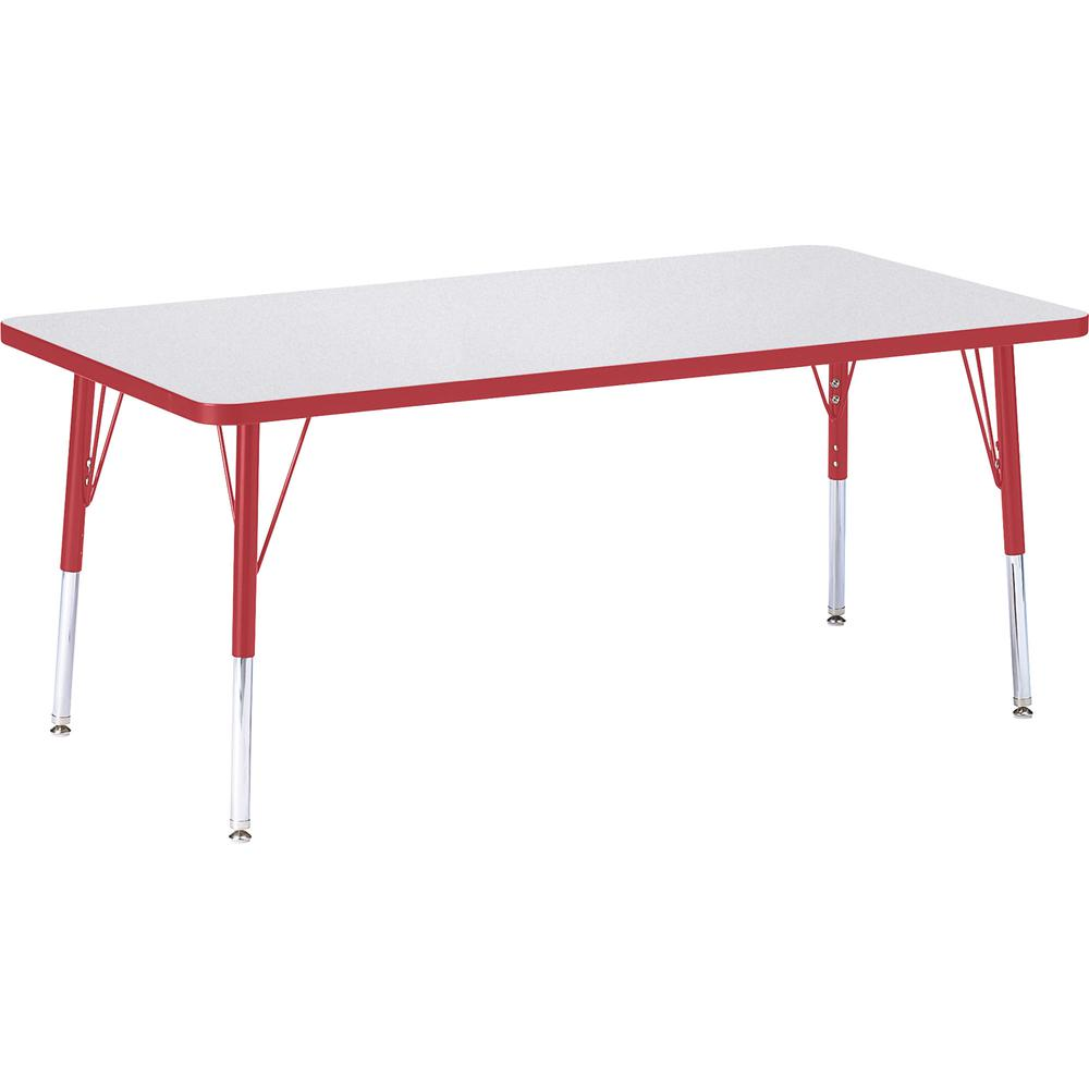 "Berries Elementary Height Color Edge Rectangular Table - Gray Rectangle, Laminated Top - Four Leg Base - 4 Legs - 60"" Table Top Length x 30"" Table Top Width x 1.13"" Table Top Thickness - 24"" Height - . Picture 3"