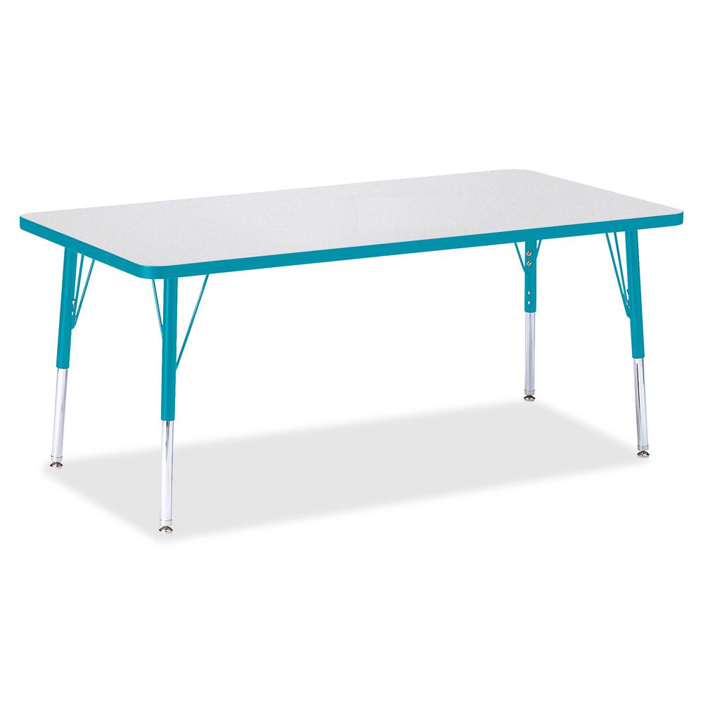 "Berries Elementary Height Color Edge Rectangle Table - Laminated Rectangle, Teal Top - Four Leg Base - 4 Legs - 60"" Table Top Length x 30"" Table Top Width x 1.13"" Table Top Thickness - 24"" Height - As. Picture 3"