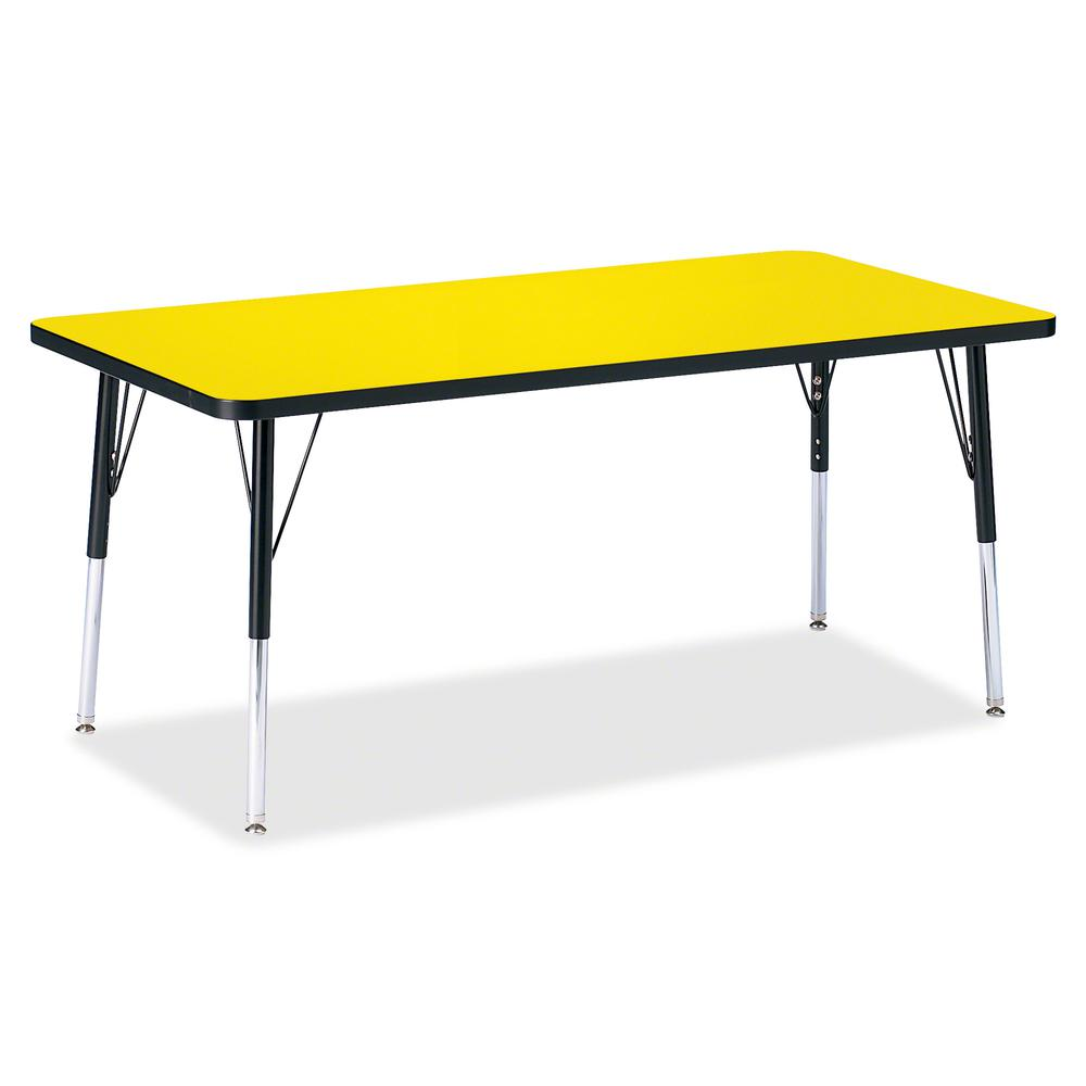 "Berries Adult Height Color Top Rectangle Table - Laminated Rectangle, Yellow Top - Four Leg Base - 4 Legs - 60"" Table Top Length x 30"" Table Top Width x 1.13"" Table Top Thickness - 31"" Height - Assemb. Picture 2"