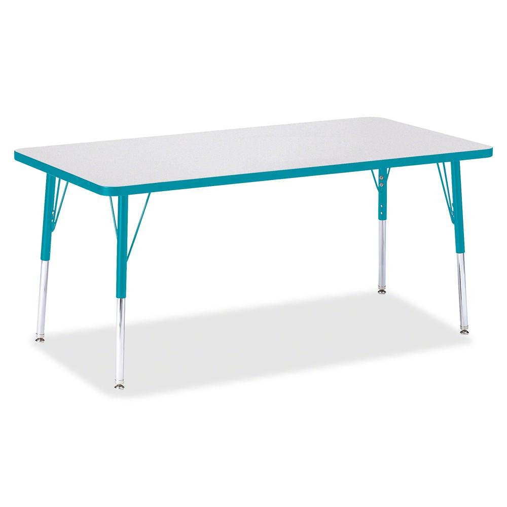 "Jonti-Craft Berries Adult Height Color Edge Rectangle Table - Laminated Rectangle, Teal Top - Four Leg Base - 4 Legs - 60"" Table Top Length x 30"" Table Top Width x 1.13"" Table Top Thickness - 31"" Heig. Picture 3"