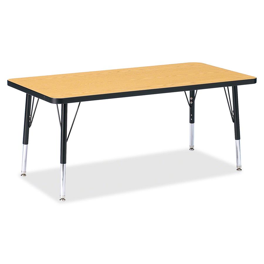"""Berries Toddler Height Color Top Rectangle Table - Black Oak Rectangle, Laminated Top - Four Leg Base - 4 Legs - 48"""" Table Top Length x 24"""" Table Top Width x 1.13"""" Table Top Thickness - 15"""" Height - A. Picture 2"""