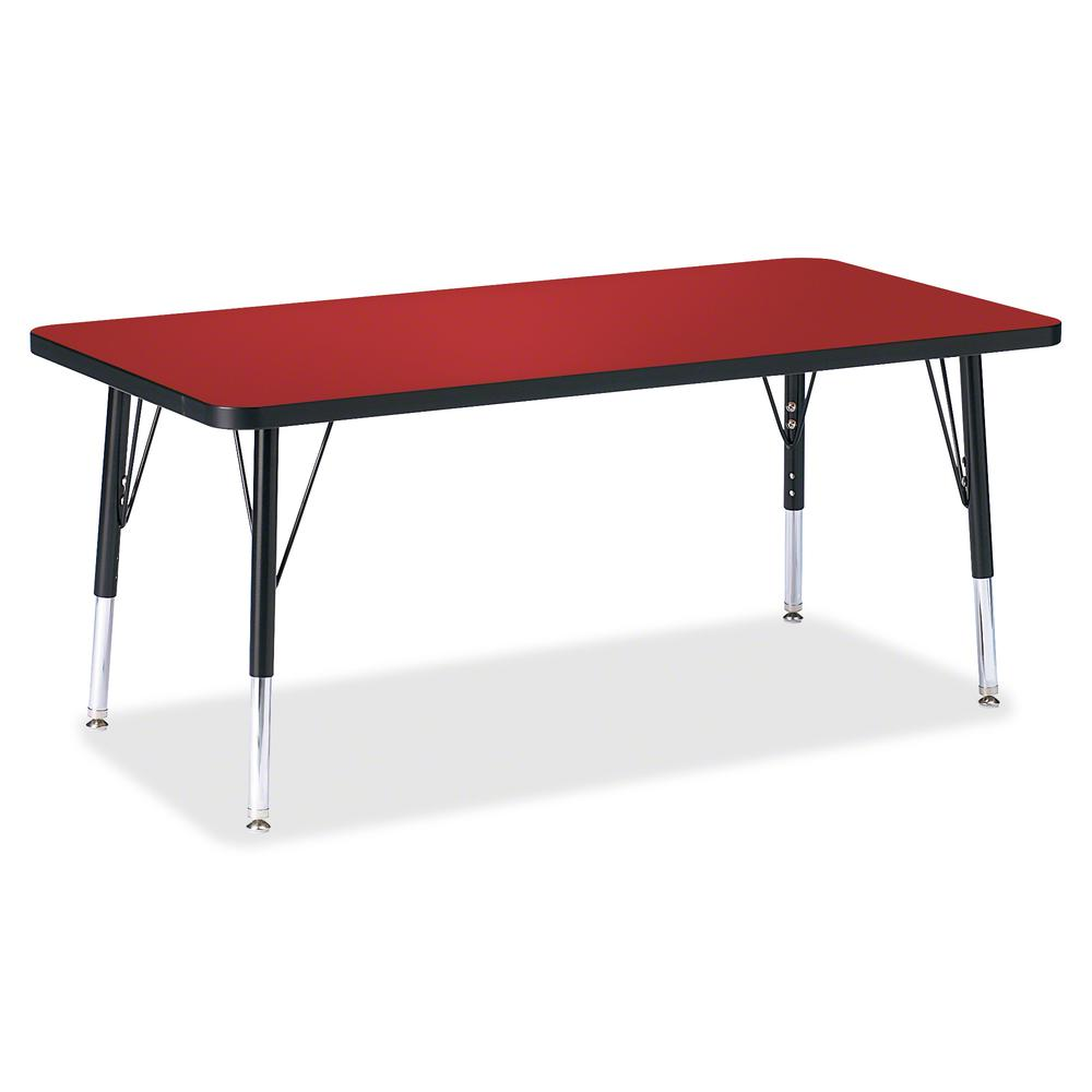 """Jonti-Craft Berries Toddler Height Color Top Rectangle Table - Laminated Rectangle, Red Top - Four Leg Base - 4 Legs - 48"""" Table Top Length x 24"""" Table Top Width x 1.13"""" Table Top Thickness - 15"""" Heig. Picture 2"""