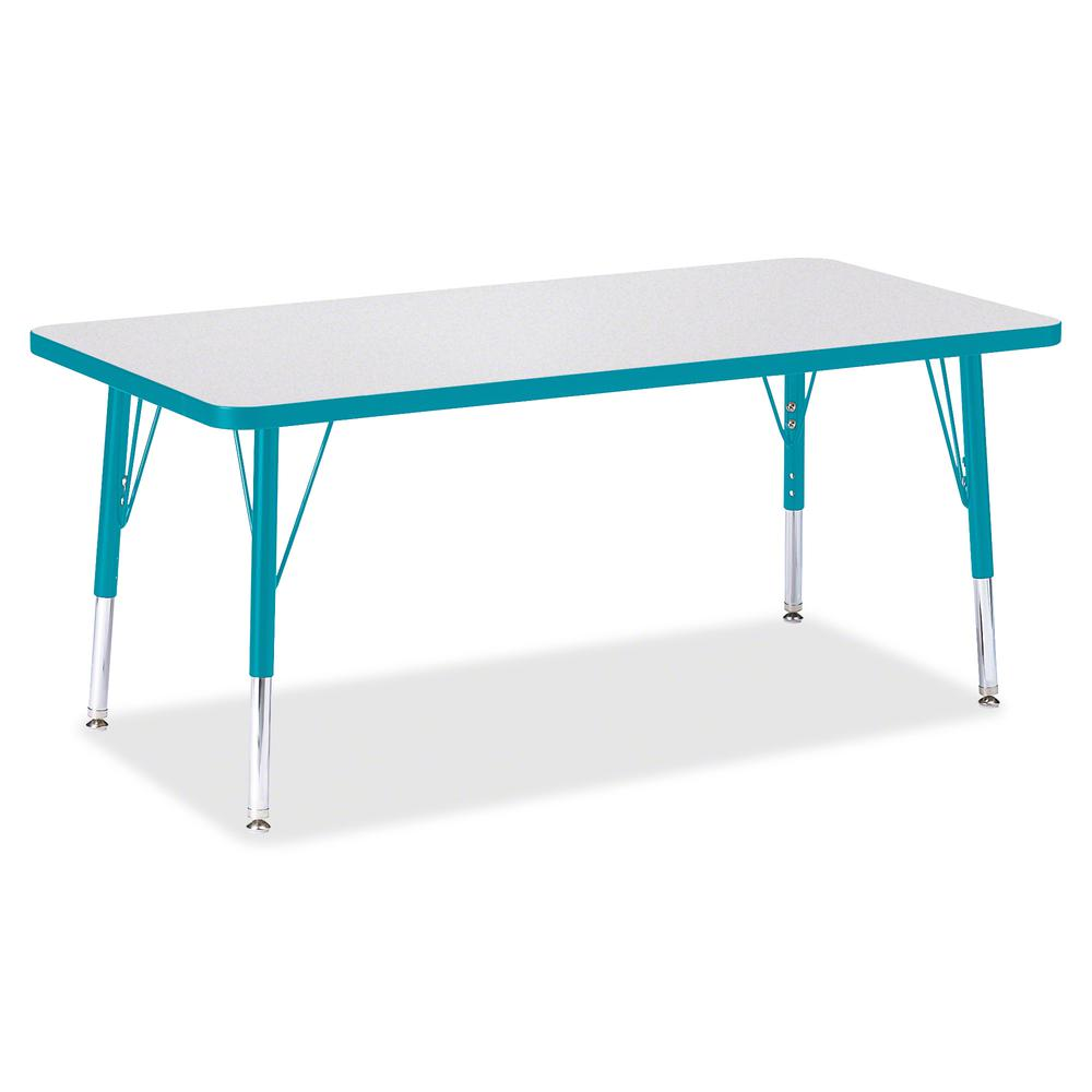 "Berries Toddler Height Prism Edge Rectangle Table - Laminated Rectangle, Teal Top - Four Leg Base - 4 Legs - 48"" Table Top Length x 24"" Table Top Width x 1.13"" Table Top Thickness - 15"" Height - Assem. Picture 3"