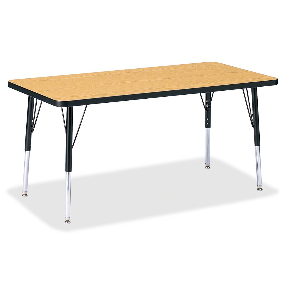 """Berries Elementary Oak Laminate Rectangle Table - Black Oak Rectangle, Laminated Top - Four Leg Base - 4 Legs - 48"""" Table Top Length x 24"""" Table Top Width x 1.13"""" Table Top Thickness - 24"""" Height - As. Picture 2"""