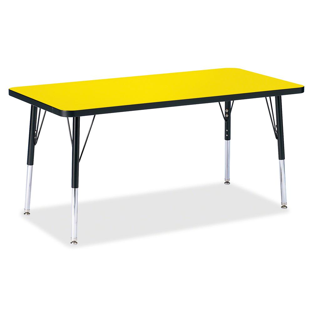 "Jonti-Craft Berries Elementary Height Color Top Rectangle Table - Laminated Rectangle, Yellow Top - Four Leg Base - 4 Legs - 48"" Table Top Length x 24"" Table Top Width x 1.13"" Table Top Thickness - 24. Picture 2"