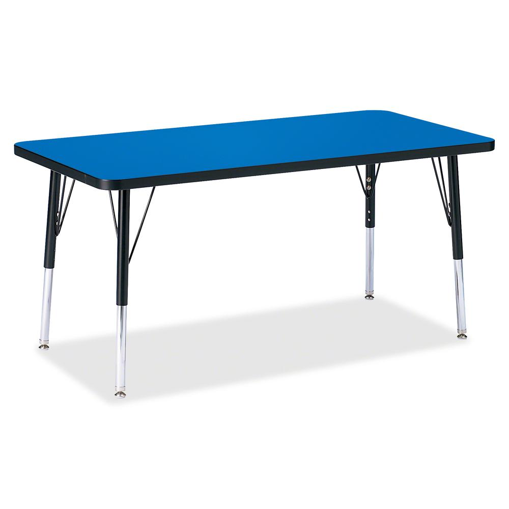 """Berries Elementary Height Color Top Rectangle Table - Blue Rectangle, Laminated Top - Four Leg Base - 4 Legs - 48"""" Table Top Length x 24"""" Table Top Width x 1.13"""" Table Top Thickness - 24"""" Height - Ass. Picture 2"""