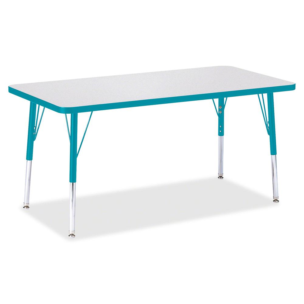 "Berries Elementary Height Color Edge Rectangle Table - Gray Rectangle Top - Four Leg Base - 4 Legs - 48"" Table Top Length x 24"" Table Top Width x 1.13"" Table Top Thickness - 24"" Height - Assembly Requ. Picture 3"