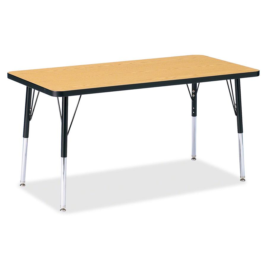 "Berries Adult Height Color Top Rectangle Table - Black Oak Rectangle, Laminated Top - Four Leg Base - 4 Legs - 48"" Table Top Length x 24"" Table Top Width x 1.13"" Table Top Thickness - 31"" Height - Ass. Picture 2"